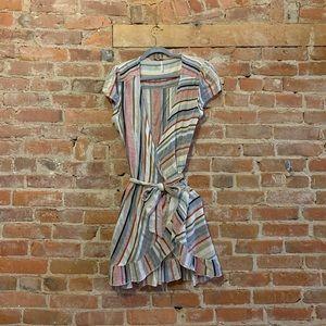 Free People Multi-Colored Striped Wrap Dress